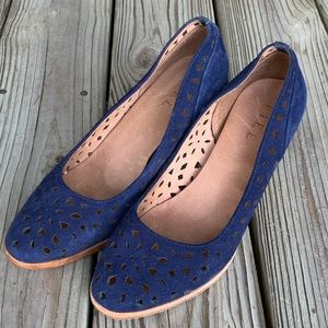 Anthropologie Fiel Denim Suede Perforated  heels 9